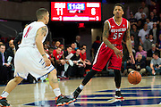 DALLAS, TX - JANUARY 21: D'Von Campbell #55 of the Rutgers Scarlet Knights brings the ball up court against the SMU Mustangs on January 21, 2014 at Moody Coliseum in Dallas, Texas.  (Photo by Cooper Neill/Getty Images) *** Local Caption *** D'Von Campbell
