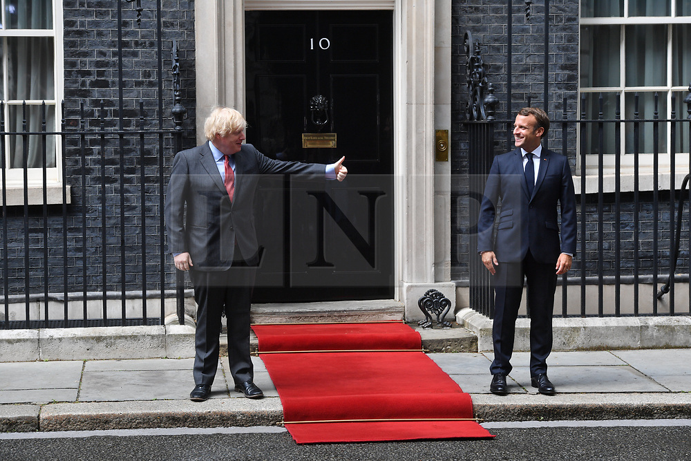 © Licensed to London News Pictures. 18/06/2020. London, UK. French President Emmanuel Marcon meets with British Prime Minister Boris Johnson at Downing St during a one day visit to celebrate the 80th anniversary of Charles de Gaulle's wartime appeal to the people of France to resist German occupation.<br /> Photo credit: Ray Tang/LNP
