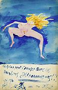 Guillaume Apollinaire (Apollinaris Kostrowitsky 1880-1919) French poet. Watercolour.