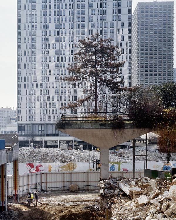 Le quarier Beaugrenelle (Front de Seine) en travaux. Paris, 4 mars 2010.