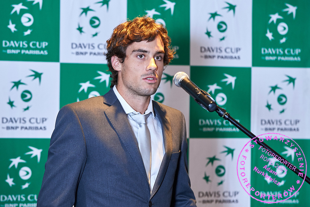 GDANSK, POLAND - 2016 MARCH 02: Rookie Guido Pella of Argentina speaks while official dinner at Sheraton Hotel two days before the Davies Cup / World Group 1st round tennis match between Poland and Argentina at Ergo Arena on March 2, 2016 in Gdansk, Poland<br /> <br /> Picture also available in RAW (NEF) or TIFF format on special request.<br /> <br /> Any editorial, commercial or promotional use requires written permission.<br /> <br /> Mandatory credit:<br /> Photo by &copy; Adam Nurkiewicz / Mediasport
