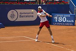 April 25, 2018 - Barcelona, Barcelona, Spain - NOVAK DJOKOVIC during a match against MARTIN KLIZAN in the Barcelona Open Banc Sabadell 2018. MARTIN KLIZAN won the match 6-3 6-7(5) 6-4. (Credit Image: © Patricia Rodrigues/via ZUMA Wire via ZUMA Wire)