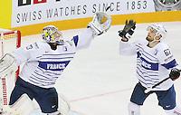 ROnan Quemener / Florian Chakiachvili - 09.05.2015 - Canada  / France  - Championnats du Monde de Hockey sur Glace 2015 -Prague<br />Photo : Xavier Laine / Icon Sport *** Local Caption ***