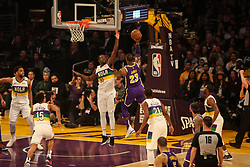 February 27, 2019 - Los Angeles, CA, U.S. - LOS ANGELES, CA - FEBRUARY 27: Los Angeles Lakers Forward LeBron James (23) goes up over New Orleans Pelicans Center Julius Randle (30) during the first half of the New Orleans Pelicans versus Los Angeles Lakers game on February 27, 2019, at Staples Center in Los Angeles, CA. (Photo by Icon Sportswire) (Credit Image: © Icon Sportswire/Icon SMI via ZUMA Press)