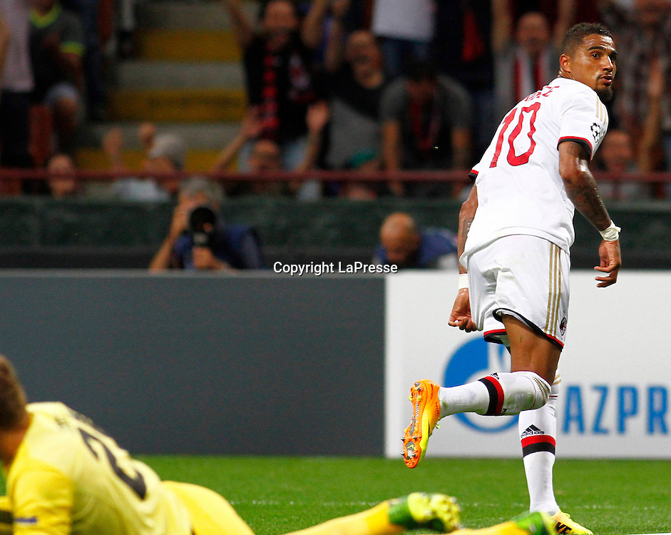 Foto Spada - LaPresse<br /> 28 08 2013 Milano, Italia<br /> UEFA Champions League 2013/2014 - Milan vs. PSV Eindhoven  <br /> Nella foto:  Boateng esultanza gol 3-0 <br /> <br /> Photo Spada - LaPresse<br /> 28 08 2013 Milan, Italy<br /> UEFA Champions League 2013/2014 - Milan vs. PSV Eindhoven <br /> In the pic: Boateng celebrates after scoring goal 3-0
