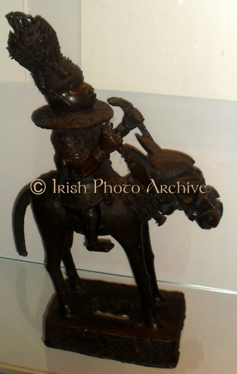 Horseman, cast brass, Benin, Nigeria, 16th century.  This figure has been interpreted in several ways, as a smith bringine the skill of brass casting from life, as a chief from the north and as Oba Oranmiyan, founder of the present dynasty.