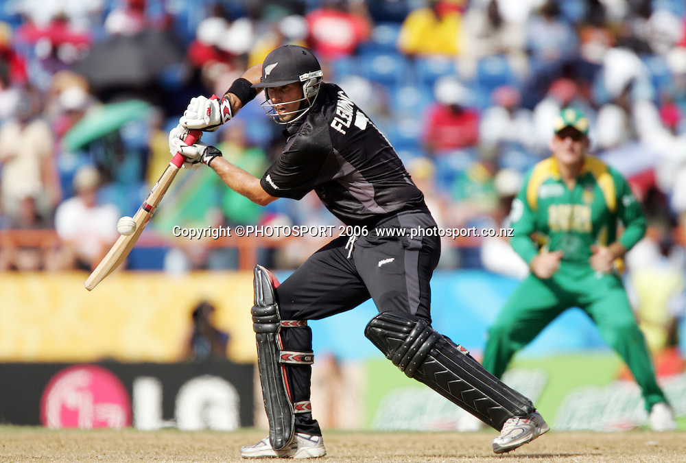 New Zealand captain Stephen Fleming in action during the NZ v South Africa Super 8 match at the Grenada National Stadium, St Georges, Grenada, West Indies on Saturday 14 April 2007. South Africa were put in to bat and scored 193/7. Photo: Andrew Cornaga/PHOTOSPORT<br /><br /><br />140407