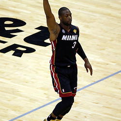 Jun 16, 2013; San Antonio, TX, USA; Miami Heat shooting guard Dwyane Wade (3) reacts during the first quarter of game five in the 2013 NBA Finals against the San Antonio Spurs at the AT&T Center. Mandatory Credit: Derick E. Hingle-USA TODAY Sports
