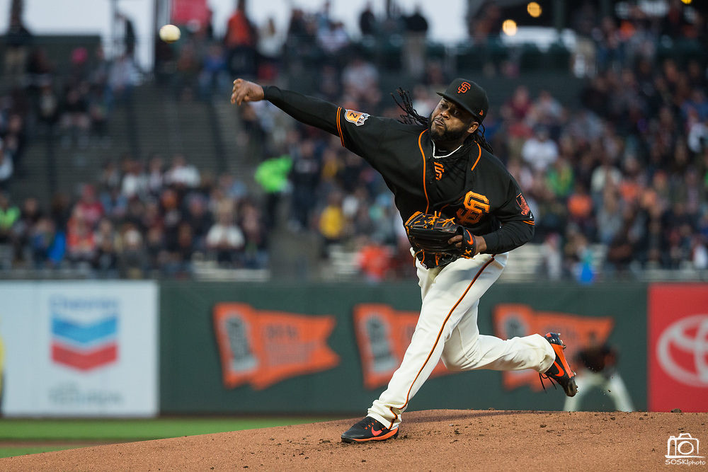 San Francisco Giants starting pitcher Johnny Cueto (47) pitches against the Oakland Athletics at AT&T Park in San Francisco, California, on March 30, 2017. (Stan Olszewski/Special to S.F. Examiner)