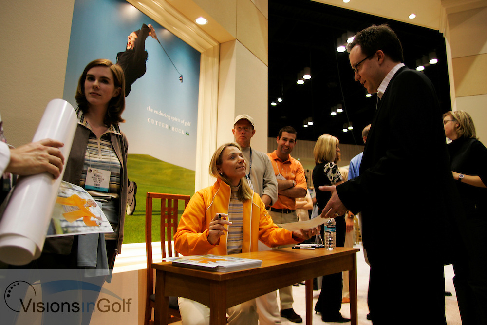 Annika Sorenstam signs autographs at the Cutter & Buck stand, The PGA Merchandise show January 2005, Orlando, Florida, USA  Photo Mark Newcombe