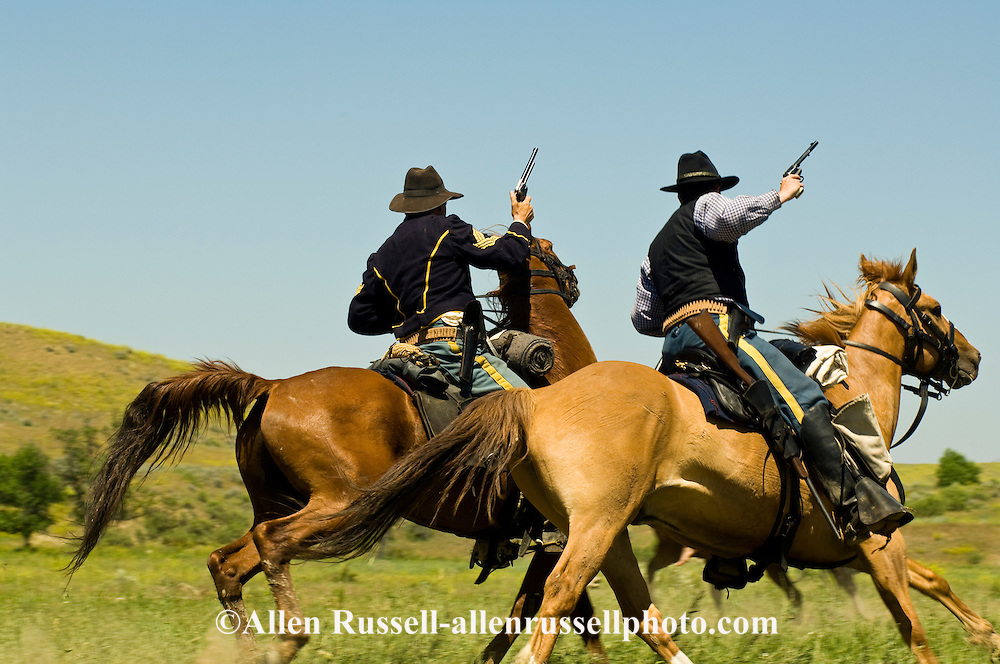 Custers Last Stand Reenactment, Battle of the Little Bighorn, Crow Indian Reservation, Montana, 7th Cavalry soldiers MODEL RELEASED