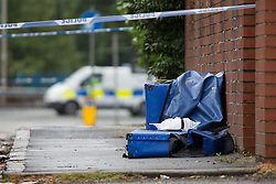 "© Licensed to London News Pictures. 27/07/2015. Salford, UK. Scene outside the home of Paul Massey on Manchester Road , Clifton , Salford where Paul Massey - known as Salford's ""Mr Big"" was shot dead last night (26th July 2015 ) . Photo credit: Joel Goodman/LNP"