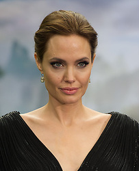 Angelina Jolie attends a private reception as costumes and props from Disney's 'Maleficent' are exhibited in support of Great Ormond Street Hospital at Kensington Palace in London.