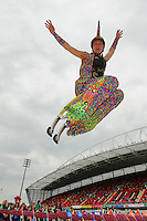 Jascha Rosen from Arcana entertaining the athletes at the Special , olympics in Thomond Park during the opening ceremony of the  Special Olympics 2010. Galway BAsed Arcana produced the entire show.  Photo:Andrew Downes.