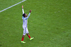 LENS, FRANCE - Thursday, June 16, 2016: England's Daniel Sturridge celebrates scoring the winning second goal against Wales in injury time during the UEFA Euro 2016 Championship Group B match at the Stade Bollaert-Delelis. (Pic by Paul Greenwood/Propaganda)