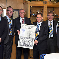 St Johnstone v Aberdeen.....07.12.13    SPFL<br /> Sir Alex Ferguson being presented with a poster at McDiarmid Park by Chairman Steve Brown. He was invited by St Johnstone FC to mark the 50th anniversary of a famous game in the club's history when a young 'Fergie' scored hat-trick against Rangers at Ibrox on the 21st December 1963. Saints winning the game 3-2<br /> Pictured from left, Roddy Grant, Stan Harris, Sir Alex Ferguson, Steve Brown, Geoff Brown and Charlie Fraser<br /> Picture by Graeme Hart.<br /> Copyright Perthshire Picture Agency<br /> Tel: 01738 623350  Mobile: 07990 594431