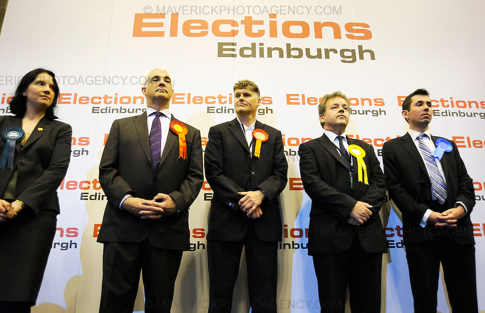 EDINBURGH, UK - 6th MAY 2010: Election results are announced at Meadowbank Stadium after the main ballot paper count in Edinburgh, Scotland. In one of the most important elections in recent years the outcome of the UK general election will soon be known after polling stations across the country closed. (Photograph: Callum Bennetts/MAVERICK)