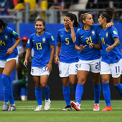 Team of Brazil celebrates his second scoring during the Women's World Cup match between Australia and Brazil at Stade de la Mosson on June 13, 2019 in Montpellier, France. (Photo by Alexandre Dimou/Icon Sport)