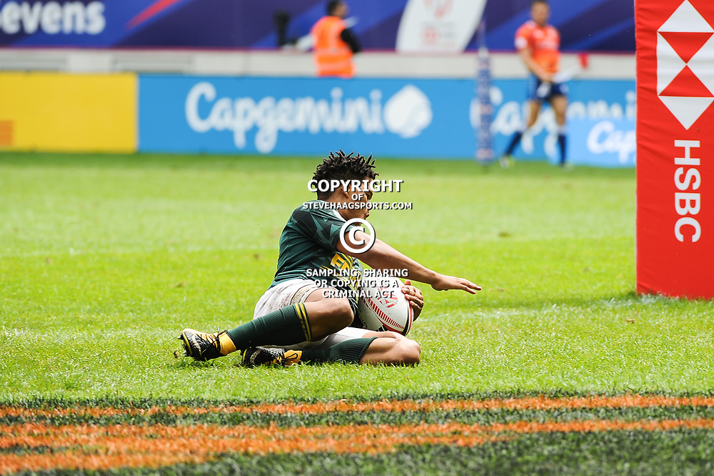 Dewald Human of South Africa scores a try during the Semi Final match between New Zealand and South Africa at the HSBC Paris Sevens, stage of the Rugby Sevens World Series at Stade Jean Bouin on June 10, 2018 in Paris, France. (Photo by Sandra Ruhaut/Icon Sport)