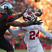 November 15, 2014: The ball hits  Indiana Hoosiers cornerback Tim Bennett (24) in the face mask  breaking up a touchdown to Rutgers Scarlet Knights wide receiver Leonte Carroo (4) during the game between The Indiana Hoosiers and Rutgers Scarlet Knights at Highpoint Solutions Stadium in Piscataway, NJ.  The Rutgers Scarlet Knights defeat The Indiana Hoosiers 45-23. Mandatory Credit: Kostas Lymperopoulos/CSM, (Credit Image: © Kostas Lymperopoulos/Cal Sport Media)