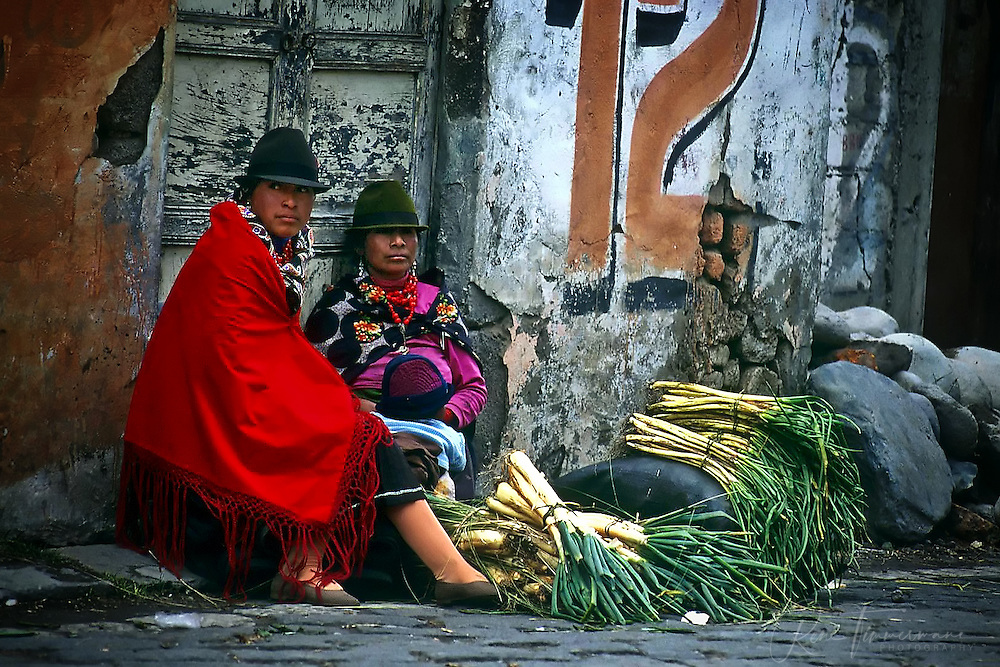 Women are selling their vegetables on the streets of Otavalo.
