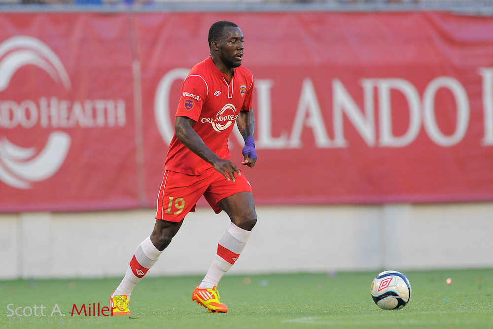 Orlando City Lions midfielder Jean Alexandre (19) during the Lions 4-0 win over the Charleston Battery at the Florida Citrus Bowl on July 27, 2012 in Orlando, Florida. The win clinched the USL-Pro regualr season title for Orlando...© 2012 Scott A. Miller..