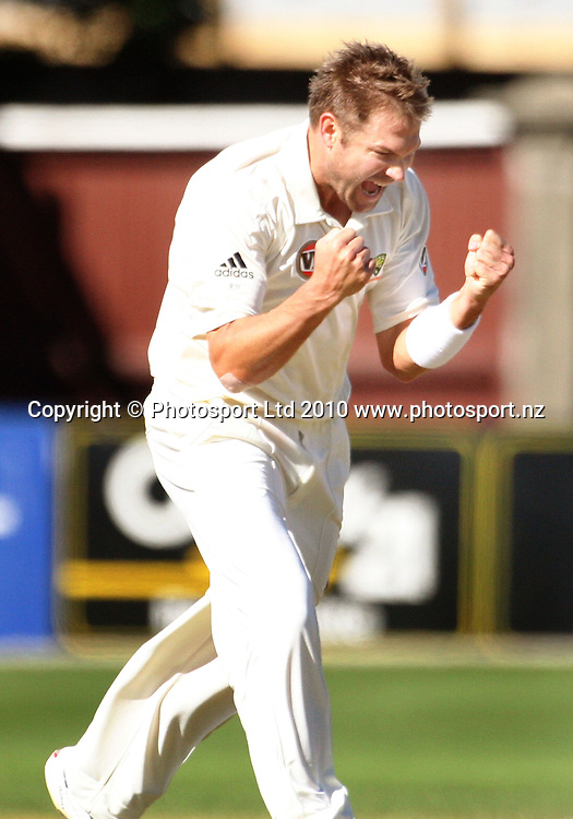 Australian bowler Ryan Harris celebrates dismissing Brendon McCullum for 104.<br /> 1st cricket test match - New Zealand Black Caps v Australia, day five at the Basin Reserve, Wellington. Tuesday, 23 March 2010. Photo: Dave Lintott/PHOTOSPORT