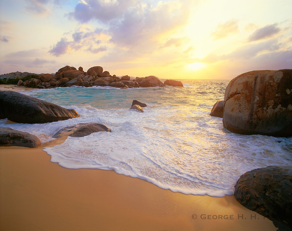 6202-1001LVT ~  Copyright: George H. H. Huey ~ Granite boulders from The Baths at sunset. Virgin Gorda Island. British Virgin Islands. Caribbean.
