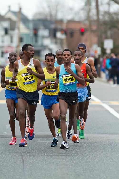 2013 Boston Marathon: lead group of elite men led by eventual winner Lilesa Desisa, Ethiopia