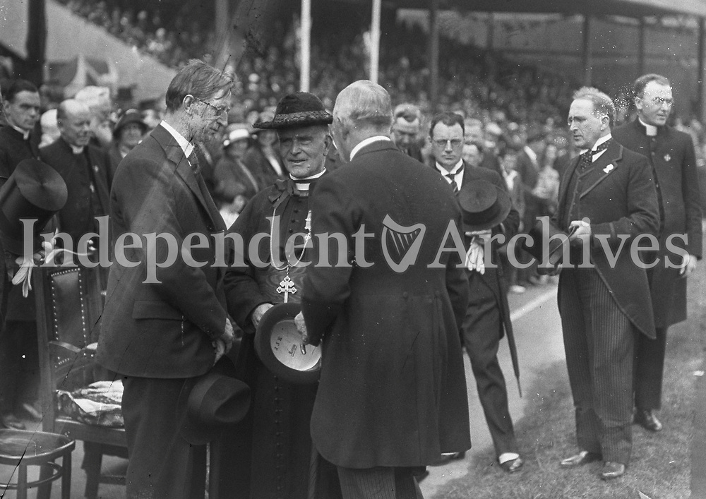 H2479 Opening of Tailteann Games. Group including President Eamon De Valera and Cardinal MacRory. Neg broken. 1932 (Part of the Independent Newspapers Ireland/NLI Collection)