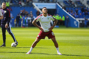 Burnley striker Andre Gray (7) in warm up during the Sky Bet Championship match between Brighton and Hove Albion and Burnley at the American Express Community Stadium, Brighton and Hove, England on 2 April 2016. Photo by Phil Duncan.