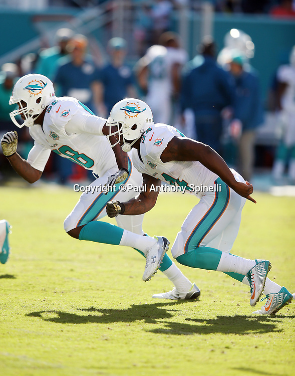 Miami Dolphins running back Damien Williams (34) and Miami Dolphins linebacker Chris McCain (58) rush on special teams punt coverage during the 2015 week 11 regular season NFL football game against the Dallas Cowboys on Sunday, Nov. 22, 2015 in Miami Gardens, Fla. The Cowboys won the game 24-14. (©Paul Anthony Spinelli)