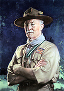 Robert Stephenson Smyth Baden-Powell (1815-1941) lst Viscount Baden-Powell.  English soldier; defender of Mafeking in 2nd Boer War (1899-1900). Founder of Boy Scouts (1908), and Girl Guides (1910), Wolf Cubs (1916). Baden-Powell in Scout uniform.