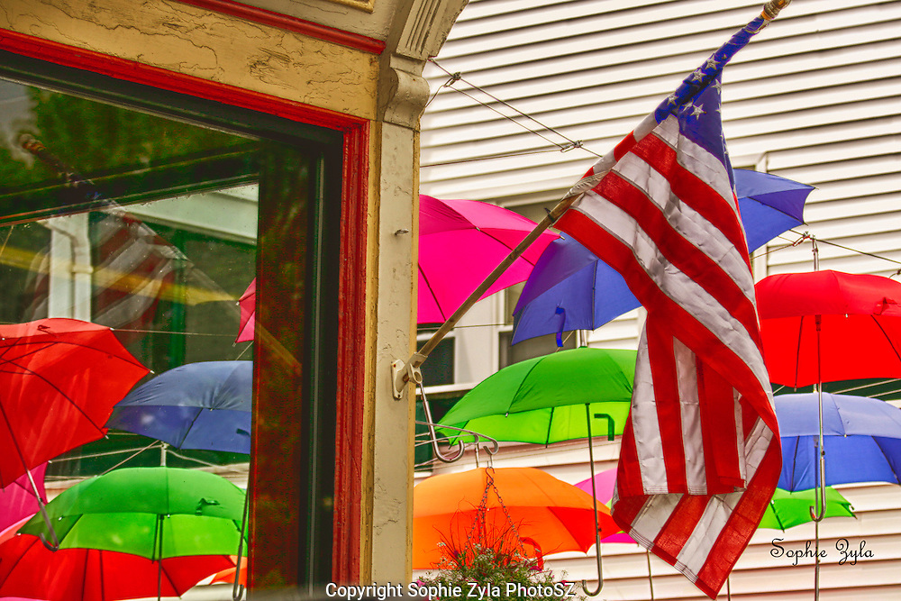 Umbrella display, American Flag, Littleton NH,
