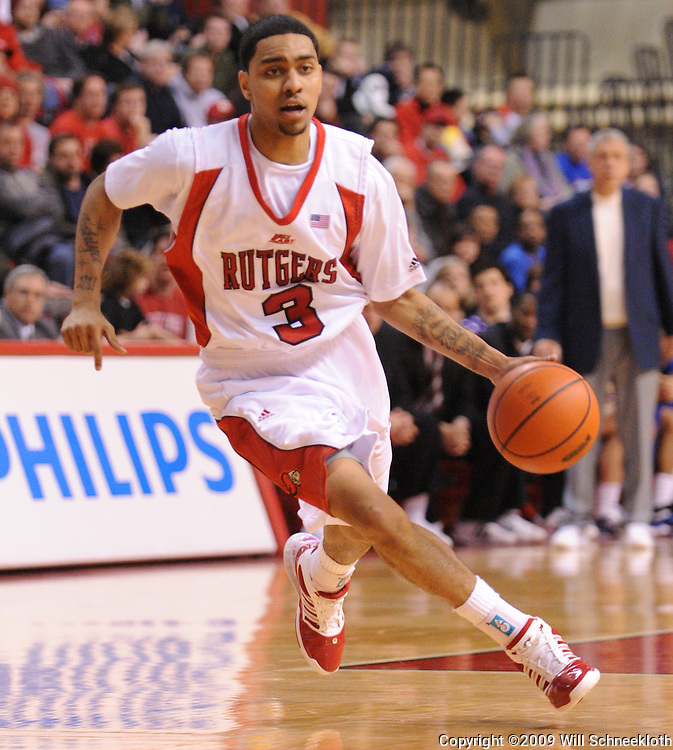Jan 31, 2009; Piscataway, NJ, USA; Rutgers guard Mike Rosario (3) drives from the three point arc during the second half of Rutgers' 75-56 victory over DePaul in NCAA college basketball at the Louis Brown Athletic Center