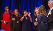 Houston ISD Trustees Wanda Adams, Rhonda Skillern-Jones, Diana Davila, Holly Maria Flynn Vilaseca and Michael Lunceford congratulate students during the Scholars Banquet at the Westin Galleria, April 11, 2017.