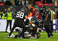 American Football - 2019 NFL Season (NFL International Series, London Games) - Houston Texans vs. Jacksonville Jaguars<br /> <br /> Gardner Minshew, Quarterback, (Jacksonville Jaguars) sacked again for being slow in the snap and throw at Wembley Stadium.<br /> <br /> COLORSPORT/DANIEL BEARHAM