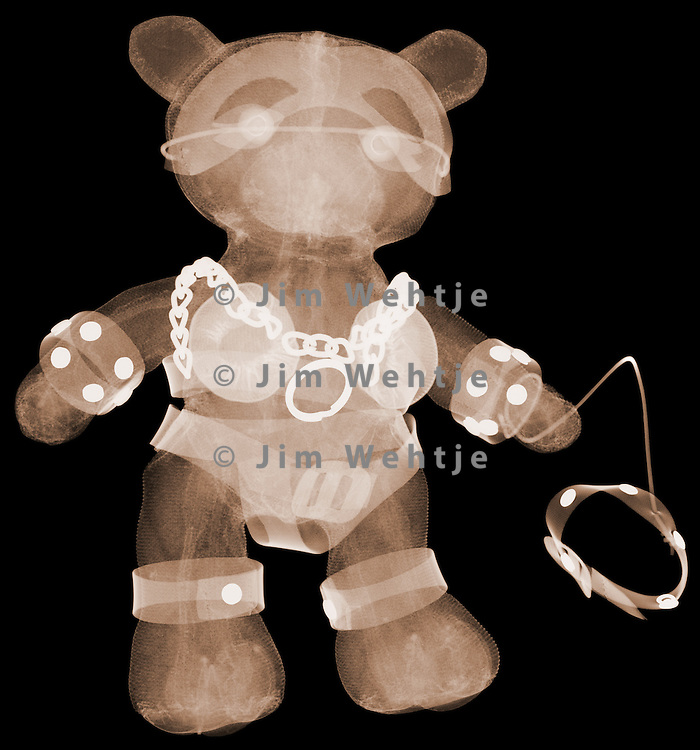X-ray image of an S&M bear (brown on black) by Jim Wehtje, specialist in x-ray art and design images.