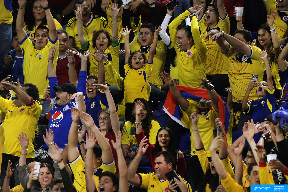 Colombia fans perform the Mexican wave during the Colombia Vs Canada friendly international football match at Red Bull Arena, Harrison, New Jersey. USA. 14th October 2014. Photo Tim Clayton