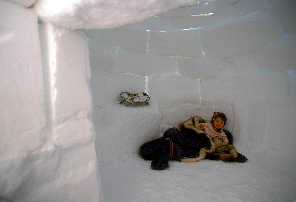 Child inside an igloo