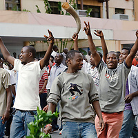 Arusha, Tanzania 01 November 2010<br /> Supporters of a political party demonstrate the day after the elections because the government did not publish the results yet.<br /> The European Union has launched an Election Observation Mission in Tanzania to monitor the general elections, responding to the Tanzanian government invitation to send observers for all aspects of the electoral process.<br /> The EU sent this observation mission led by Chief Observer David Martin, a member of the European Parliament. <br /> PHOTO: EZEQUIEL SCAGNETTI