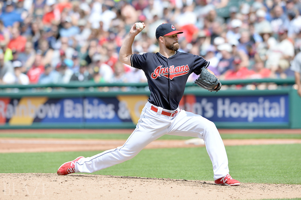 Jul 31, 2016; Cleveland, OH, USA; Cleveland Indians starting pitcher Corey Kluber (28) throws a pitch  during the fifth inning against the Oakland Athletics at Progressive Field. Mandatory Credit: Ken Blaze-USA TODAY Sports