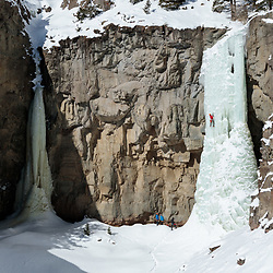 Ryan Edwards climbing the 5th pitch of Broken Hearts, My Only Valentine, WI5, in Cody, Wyoming