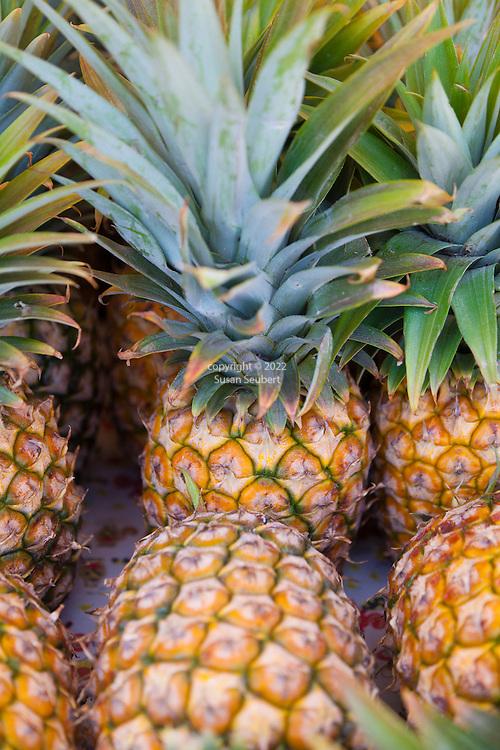 Maui, Hawaii.  Pineapples at the Ono Farm stand in Hana, Maui.