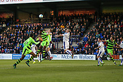 Tranmere Rovers Steve McNulty(5) heads away a Forest Green free kick during the Vanarama National League match between Tranmere Rovers and Forest Green Rovers at Prenton Park, Birkenhead, England on 11 April 2017. Photo by Shane Healey.