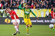DEN HAAG - 21-04-2016, ADO Den Haag - AZ, Kyocera Stadion, AZ speler Markus Henriksen scoort hier de 1-2, doelpunt, ADO Den Haag speler Tyronne Ebuehi.