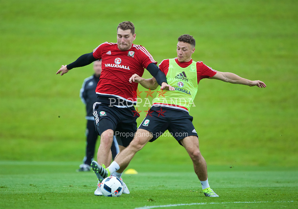 CARDIFF, WALES - Wednesday, June 1, 2016: Wales' Sam Vokes and James Chester during a training session at the Vale Resort Hotel ahead of the International Friendly match against Sweden. (Pic by David Rawcliffe/Propaganda)