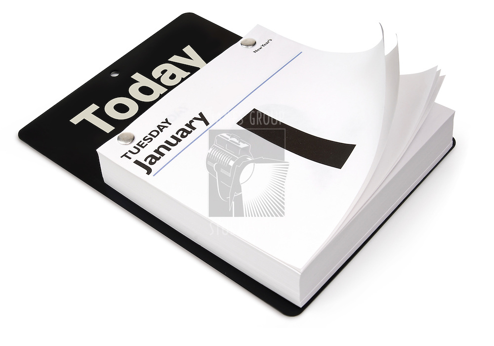 Tear-off day calendar shot at an angle on white with clipping path