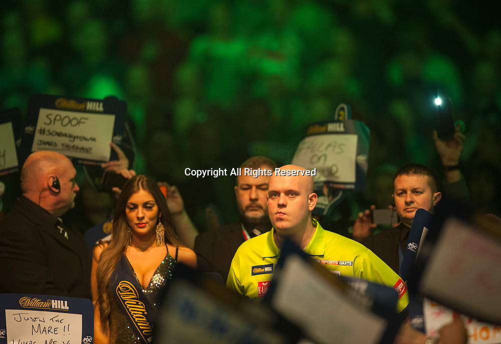 03.01.2015.  London, England.  William Hill PDC World Darts Championship.  Semi Final Round.  Michael van Gerwen (1) [NED] makes his way to the stage before his match against Gary Anderson (4) [SCO].