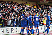 The Birmingham squad celebrate with City fans during the Sky Bet Championship match between Nottingham Forest and Birmingham City at the City Ground, Nottingham, England on 28 December 2014. Photo by Jodie Minter.
